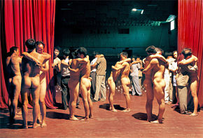 Gao Brothers, Twenty People Paid to Hug No. 2, 2001, C-print.