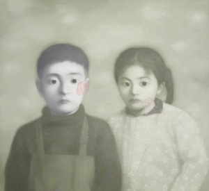 "Sold for $858,037: Contemporary Chinese artist Zhang Xiaogang's ""Big Family Series No. 21"" (1999)"