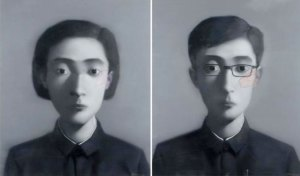 "Sold in Hong Kong for $1.1 million USD, $372,000 over high estimate: Zhang Xiaogang's ""Comrade (Diptych)"" Image: Sotheby's"
