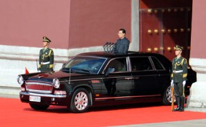 The newest Hong Qi limo, used in the National Day parade, features traditional design elements that will appeal to many in China (Photo: Xinhua)